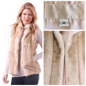 Fabulous Furs Blonde Mink Faux Fur Hook Vest, M